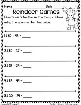 No Fuss! December Math Printables (2nd Grade)