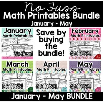No Fuss Math Printables Jan-May Bundle (2nd Grade)