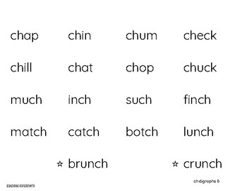 No Fuss Phonics Word Charts - Digraphs