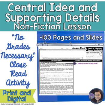 No Grades Necessary Determining the Central Idea and Supporting Details Activity