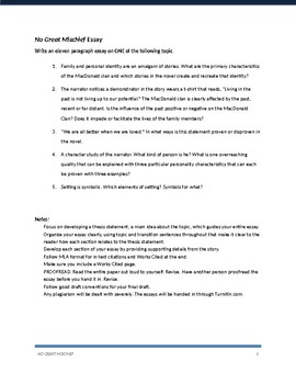 No Great Mischief by Alistair MacLeod Summative Writing Assignments
