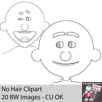 No Hair Blank Faces Clipart for Drawing, Coloring and Creating Unique Characters