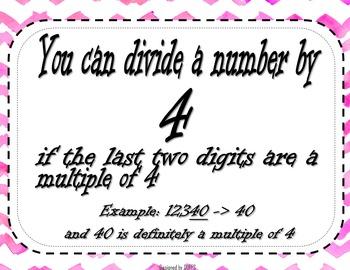 No Hassle Math - Divisibility Rules Wall Anchor Charts