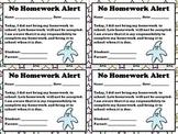 No Homework Alert - Note for Parents  - King Virtue