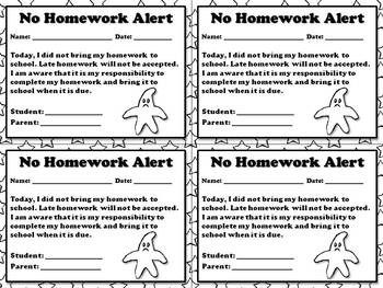 No Homework Alert - Note for Parents  - King Virtue