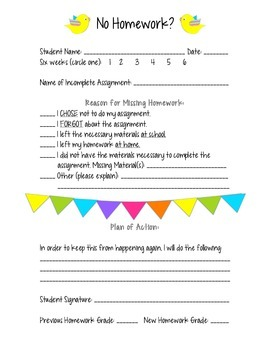 No Homework Binder Form