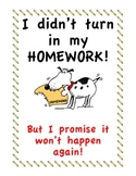 No Homework Binder/ I Didn't Bring My Homework But It Won't Happen Again Binder
