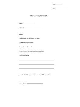 No Homework Binder and Excuse Form *EDITABLE