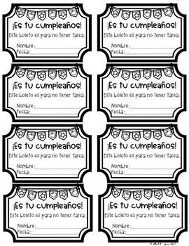 No Homework Coupons {SPANISH}