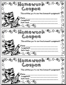 No Homework!?: Homework Coupon
