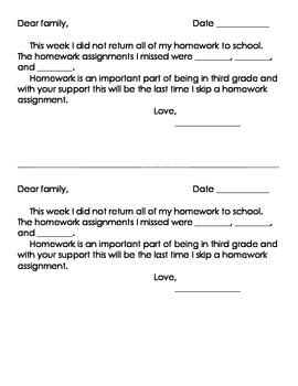 No Homework Letter