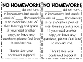 No Homework Letter to Parents