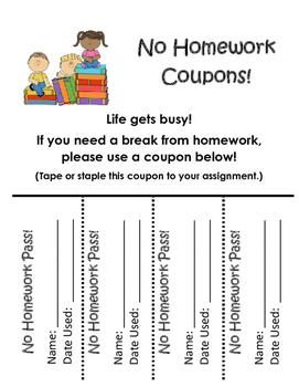 No Homework Pass Coupons