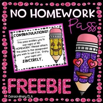 No Homework Pass FREEBIE