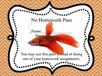 No Homework Pass- Fish