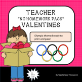 No Homework Pass Ready Made Valentine cards FOR Teachers! Tiger Olympic Theme