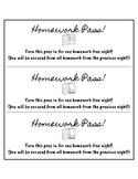 No Homework Pass SLips