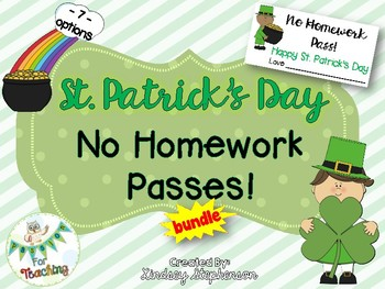 No Homework Pass - St. Patrick's Day Edition