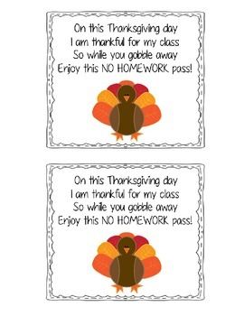 No Homework Pass (Thanksgiving)