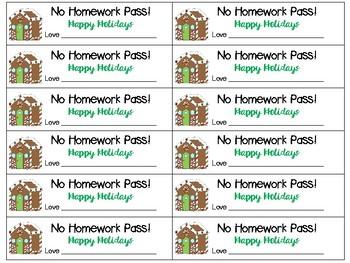 No Homework Pass - Winter Break Edition