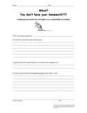 "FREE ""I don't have my homework"" Reflection Sheet"