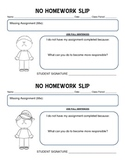 No Homework Slip - tracking missing assignments