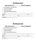 No Homework (Student Responsibility) Sheet