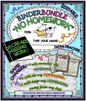 """NO HOMEWORK"" Think Sheet/Data Tracker & Binder"