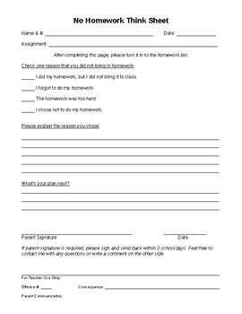 No Homework Think Sheet
