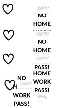 No Homework Valentine's Day Pass