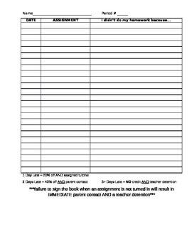 No Homework binder (student page)