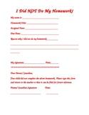 No Homework form with parent signature