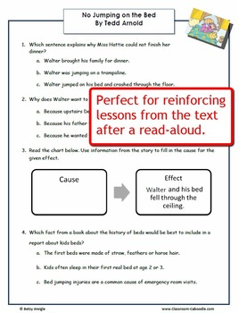No Jumping on the Bed Reading Comprehension Worksheets for Grades 3-5