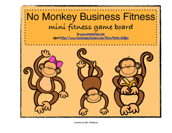 No Monkey Business Fitness Game Board