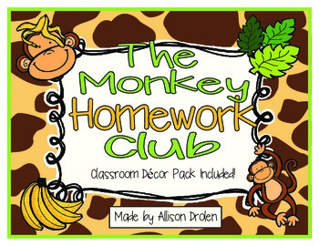 No Monkey Business Homework Club and Room Decor Pack!