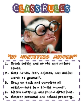 No Monkeying Around! Class Rules (Poster)