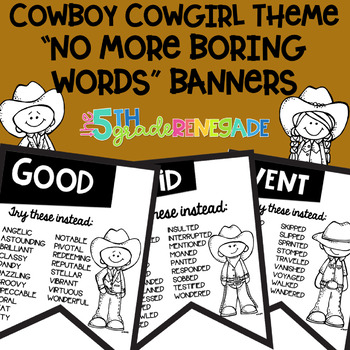 No More Boring Words Banners Cowboy theme in Black & White Easy Printing