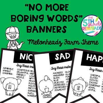 No More Boring Words Banners Farm theme in Black & White Easy Printing