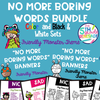 No More Boring Words Banners Friendly Monster Theme Combo Pack