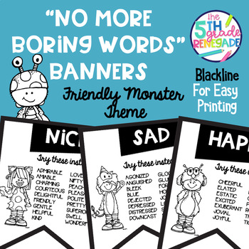 No More Boring Words Banners Friendly Monster theme in Black & White