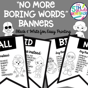 No More Boring Words Banners Star Wars theme in Black & White