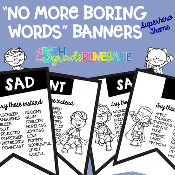 No More Boring Words Banners Superhero theme in Black & White Easy Printing