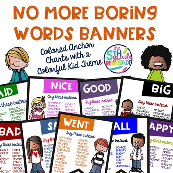 No More Boring Words Colored Banners with Cute Colorful Kids Theme