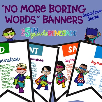 No More Boring Words Colored Banners with Superhero Theme