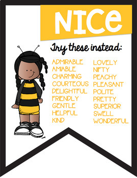 No More Boring Words Colored Banners with a  Bumblebee Bee Theme