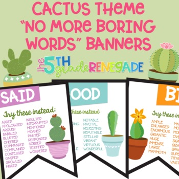 No More Boring Words Colored Banners with a Cactus Succulent Theme