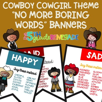 No More Boring Words Colored Banners with a Cowboy Cowgirl Theme