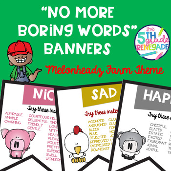 No More Boring Words Colored Banners with a Farm Theme