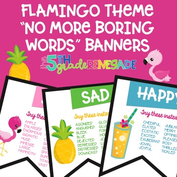 No More Boring Words Colored Banners with a Flamingo Tropical Theme