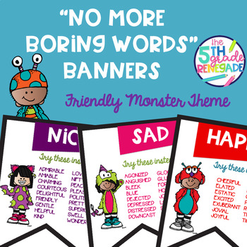 No More Boring Words Colored Banners with a Friendly Monster Theme